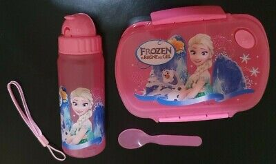 3 Piece Children's Cartoon Character Set Of Lunch Box, Spoon & Water Bottle Pink • 8.79£