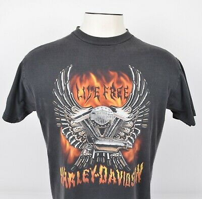 $ CDN66.60 • Buy Vintage Harley-Davidson Men's Sz Large Live Free Engine Flames Black T-Shirt