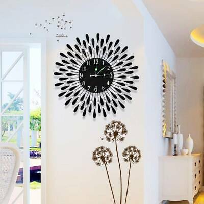 AU40.09 • Buy Large Modern 3D Crystal Wall Clock Luxury Round Dial Black Drops Home Dec Office