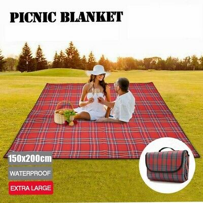 Extra Large Waterproof Picnic Blanket Travel Outdoor Beach Park Camping Soft Rug • 8.99£