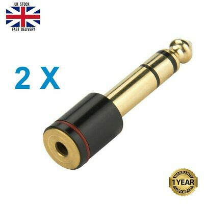 BIG To SMALL Headphone Adapter Converter Plug 6.35mm To 3.5mm Jack Audio GOLD • 3.45£