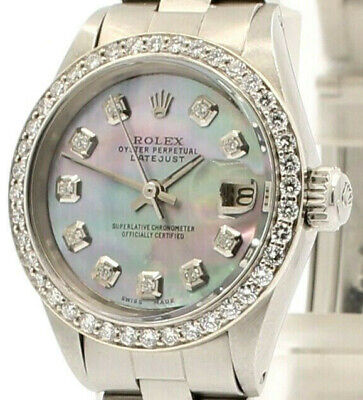 $ CDN5006.76 • Buy ROLEX Oyster Perpetual Datejust 26mm TAHITIAN Dial Stainless Steel Diamond Watch