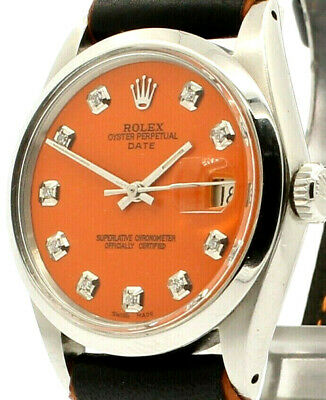 $ CDN4091.03 • Buy Mens Vintage ROLEX Oyster Perpetual Date 34mm ORANGE Dial Diamond Stainless