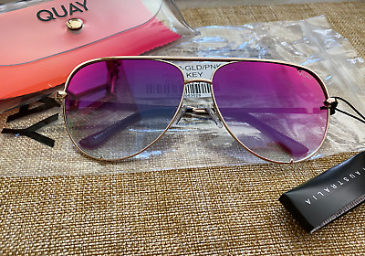 AU101.75 • Buy Quay Sunglasses - High Key - Gold/Mirrored Pink/ Black Fade - NEW 100% Authentic