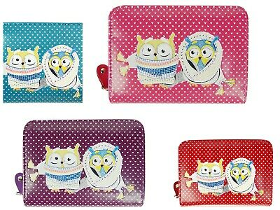 Ladies Small Purse With Zip Round Closure Note Wallet Winter Owl Design • 6.95£