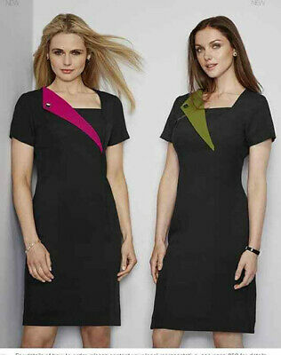 £11.99 • Buy Simon Jersey Beauticians Dress Black With Pink Or Green Lapel Spa Salon Tunic