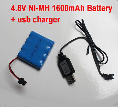 AU12.90 • Buy 4.8V 1600mAh AA Ni-MH Rechargeable Battery Pack SM Port For RC Toy +USB Charger