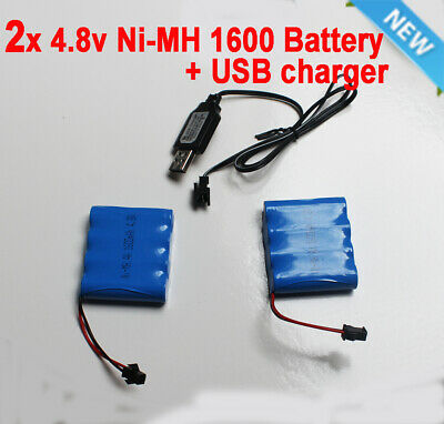 AU20.90 • Buy 2x4.8V 1600mAh AA Ni-MH Rechargeable Battery Pack SM Port For RC Toy+USB Charger