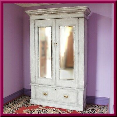AU785 • Buy Antique Edwardian Wardrobe /Closet /Armoire ◆Mirrors ◆Drawer ◆White ◆c.1900s