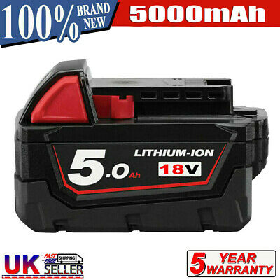 For Milwaukee M18 M18B5 Lithium XC 5.0 AH Extended Capacity Battery 48-11-1860 • 21.99£