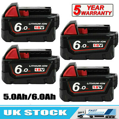 4) For Milwaukee M18 Lithium XC 6.0 Ah Extended Capacity Battery Pack 48-11-1852 • 42.99£