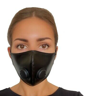 Face Mask Reusable Virus Washable Breathable Cotton Protection Black Eco-Leather • 4.99£