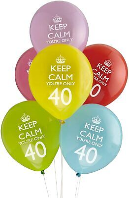8 X Keep Calm You're Only 40 Latex Balloons 40th Birthday Party Decoration • 2.99£