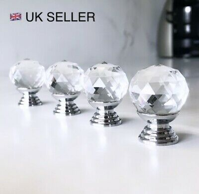 UK SELLER 🇬🇧 Crystal Diamond Glass Door Knobs Cupboard Drawer Furniture Handle • 2.99£
