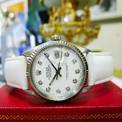 $ CDN5572.33 • Buy Mens Vintage ROLEX Oyster Perpetual Datejust 36mm White Diamond Dial Watch