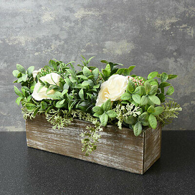 Beautiful Rustic Artificial White Roses And Leaves In Wooden Box 43 Cm Wide • 13.99£