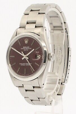 $ CDN4719.89 • Buy Mens Vintage ROLEX Oyster Perpetual Date 34mm RED Dial Stainless Watch