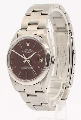 $ CDN4788.11 • Buy Mens Vintage ROLEX Oyster Perpetual Date 34mm RED Dial Stainless Watch