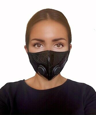 Face Mask Black Leather Reusable Virus Washable Breathable Dust Mouth Cover UK • 10.99£