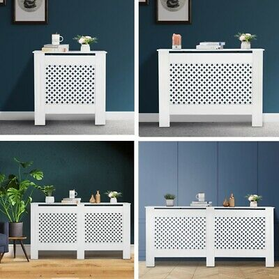 Simple Traditional Design Radiator Cover Plum Blossom White MDF Wood Cabinet • 42.99£