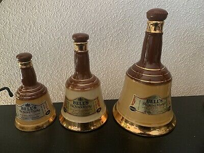 VINTAGE BELLS SCOTCH WHISKY SET OF 3 BOTTLE / DECANTER WADE COLLECTABLE Empty • 40£