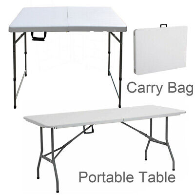 5/ 6FT Portable Folding White Trestle Table Heavy Duty Plastic Garden Party Camp • 34.90£