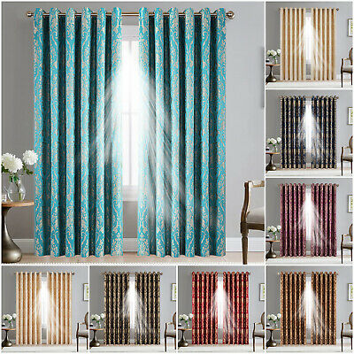 Ring Top Block Out Curtains Damask Pattern Lined Window Curtain Pair & Tiebacks • 23.99£