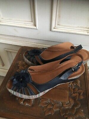 Pavers Women's Sandals Size 38 Uk 5 Blue Leather And Stripe • 15£
