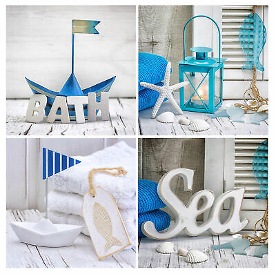 Glass Art 4er Set Each 30x30cm Mural Bathroom Decor Maritime Sea Wall Wellness • 48.91£