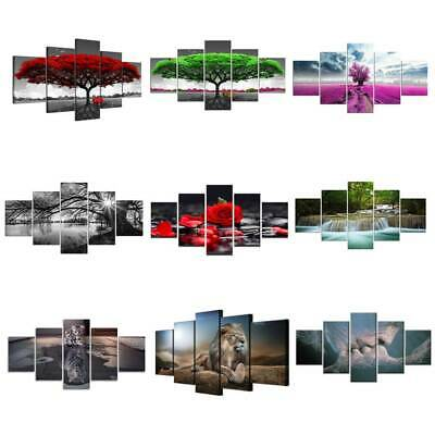 5Panels Unframed Modern Canvas Art Oil Painting Picture Wall Hanging Home Decor • 16.71£