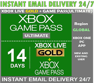 $ CDN2.20 • Buy Xbox Live Gold + Game Pass (Ultimate) 14 Day 2 Weeks Trial Code Instant Delivery