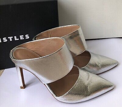 WHISTLES TILLA Point Mule Silver Pewter Leather Heels Shoes UK 6 • 34.99£