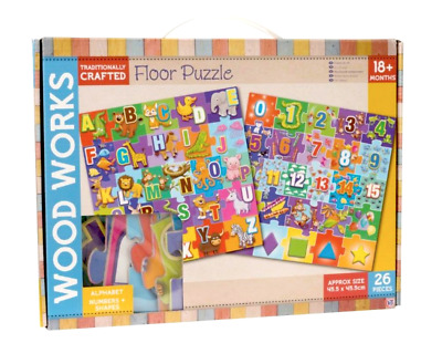 £8.95 • Buy Wooden Floor Puzzle Kids Jigsaw Alphabet Numbers Letters Animal Learning Toys