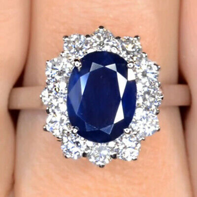 £1347.63 • Buy Kate Middleton Engagement Ring 3.22 Ct Oval Cut Sapphire 14K Solid White Gold