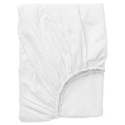Ikea Dvala White Fitted Sheet 100% Cotton Great Quality 4 Sizes • 14£