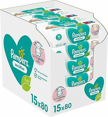 Pampers Sensitive Baby Wipes 15x80 = 1200 Wipes • 25.99£