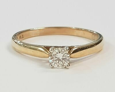AU699 • Buy 9ct YELLOW & WHITE GOLD SOLITAIRE DIAMOND RING TDW 25pt VALUED @ $1399