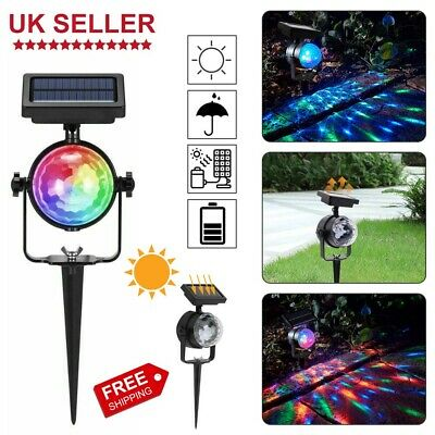Solar Spot Lights LED Colour Changing Projection Stake Garden Party Stage Light • 9.25£