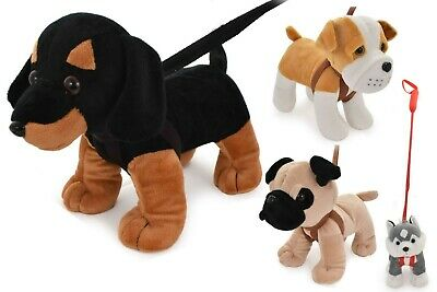 £9.95 • Buy Standing Dogs On Lead Plush Medium Stuffed Teddy Soft Toy Kids Toddler Toy