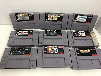 $ CDN52.71 • Buy Lot Of 9 SNES Games Authentic Super Nintendo Pac-Attack Pac-Man 2 Lagoon NBA '98
