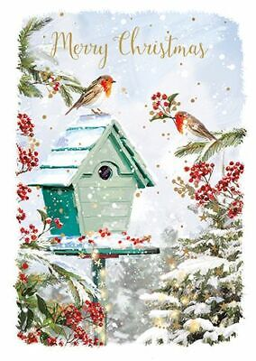 Christmas Card - Xmas In The Garden - Robins - At Home Ling Design Quality NEW • 2.50£