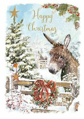 Christmas Card - Donkey In The Snow - At Home Ling Design Quality NEW • 2.50£