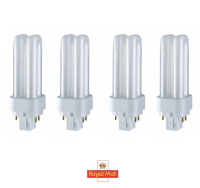 4x 10W G24q-1, 4 Pin, Low Energy CFL BLD Double Turn Light Bulb Cool White Lamp • 10.98£