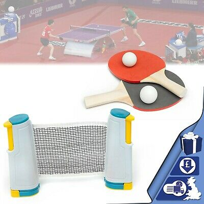 Table Tennis Set Portable Retractable Ping Pong Set Net Bats Expandable Net Kit • 10.55£