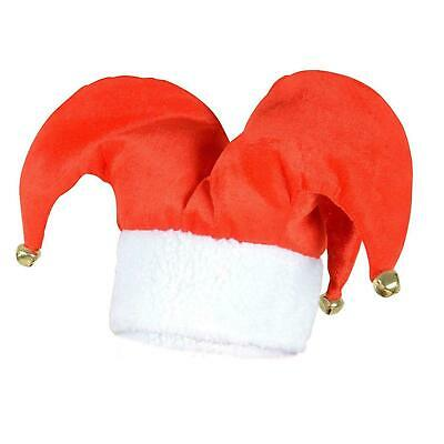 SANTA JESTER HAT WITH BELLS -Christmas Xmas Fancy Dress Party Hat- PARTY HATS • 4.30£