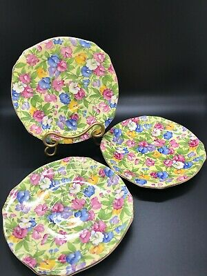 $ CDN35.30 • Buy Vintage Royal Winton Grimwades Lot SWEET PEA Chintz 3 ASCOT Shape Teacup Saucers