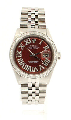 $ CDN8249.16 • Buy Mens Vintage ROLEX Oyster Perpetual Datejust 36mm RED Color Diamond Dial Watch
