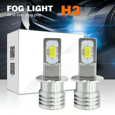 AU16.99 • Buy 2Pcs H3 LED Fog Light Bulb Replace Halogen Lamp White 6000K 80W 2000LM/SET AU