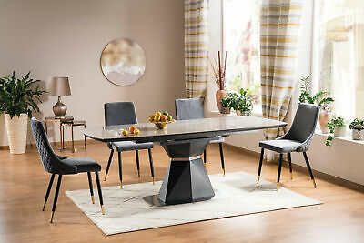 £590 • Buy  CORTEZ  Anthracite & Grey Ceramic Marble Extending Dining Table & Velvet Chairs