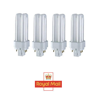 4x 18W G24q-2, 4 Pin, Low Energy CFL BLD Double Turn Light Bulb Cool White Lamp  • 9.99£